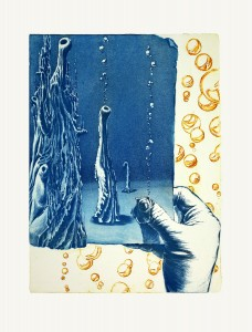 'And what's upstairs? -etat I' 33x44cm, etching, 2010