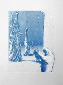 'And what's upstairs? -etat II' 33x44cm, etching, 2010