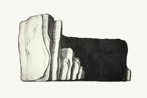 'Library of oblivion-etat I'  61x37cm, etching, 2010