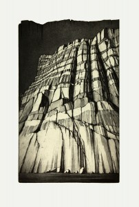 'This far, but not further!-etat II'  33x53cm, etching,  2009