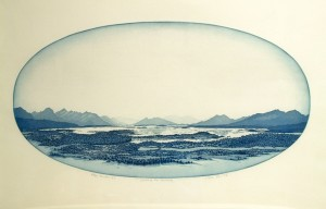 'Landscape from Hamarøy'  49x26cm, aquatint etching, 1992