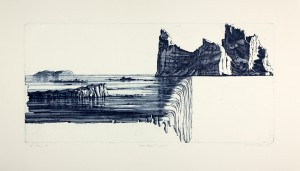 'Over the edge-etat II', 60x29cm, etching, 2008