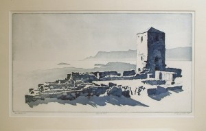 'Selje Monastery'_60x33cm, softground and aquatint etching, Martin Due 1997