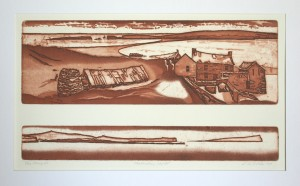 'Shetlandiana -etat III' open etching, aquatint, 41x22cm, Martin Due 2000