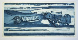 'Shetlandiana -etat II' open etching, aquatint, 41x19cm, Martin Due 2000