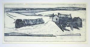 'Shetlandiana -etat I' open etching, 41x19cm, Martin Due 2000