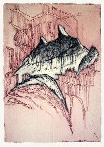 Structure III - variation III, 31x44cm, drypoint and etching, 2007