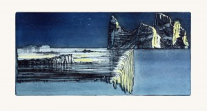 'Over the Edge?' etching 60x29cm, 2008