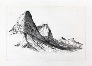 'Northern Mountains II - etat II', 53x36cm, hardground and aquatint etching, Martin Due 1991