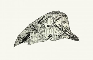 'Written in stone IV' 48x27cm, Drypoint and relief etching, Martin Due 2001